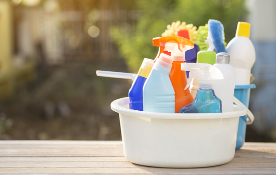 House cleaning product on the table, outdoor