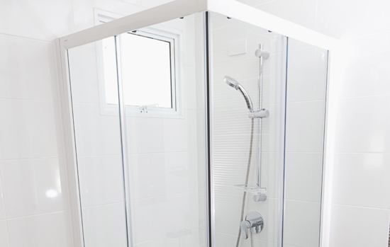 shower box in bathroom