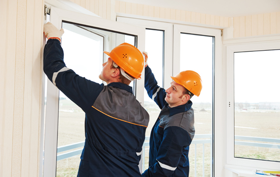 workers installing window