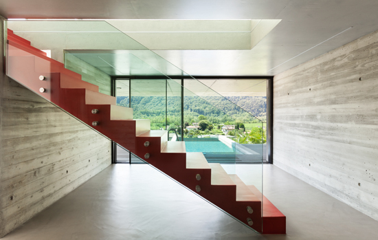 red staircase and pool
