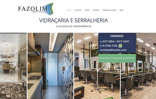 Site da Fazolim Vidros: fotos de obras realizadas atraem novos clientes e fidelizam arquitetos e designers.
